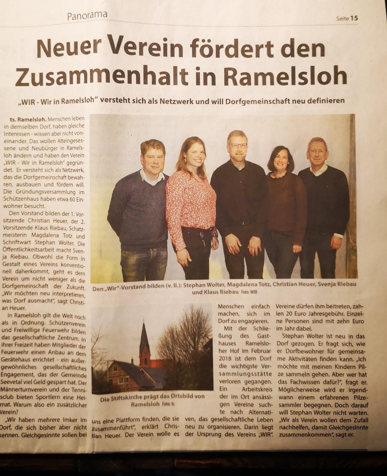 Wochenblatt und Turmhahn berichten über den Verein
